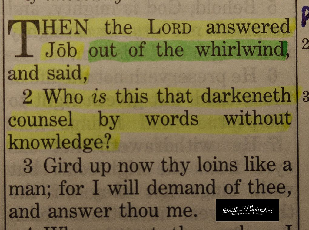 "Job 38:1 ""out of the whirlwind"""
